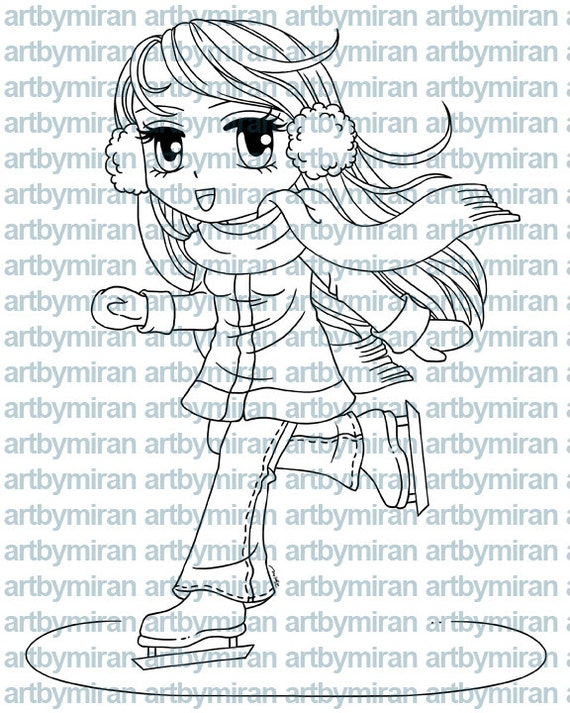 Digital Stamp - Ice Skater Macy, Christmas Digi Stamp, Coloring page, Printable Line art for Card and Craft Supply