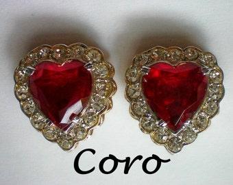 Signed Coro Ruby Red Heart Rhinestone Earrings - 3744
