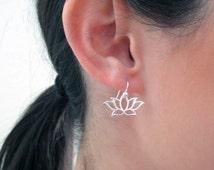 Lotus Earrings Sterling Silver or Gold Vermeil and Gold Filled/Yoga Earrings/ Lotus Flower/Namaste Earrings/Buddhist Jewelry/Zen Earrings