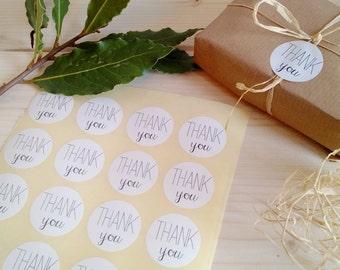 30 round white stickers THANK YOU