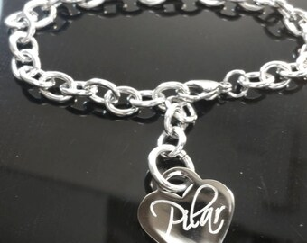 Engraved Heart Bracelet, Personalized Name Bracelet. Custom Bracelet