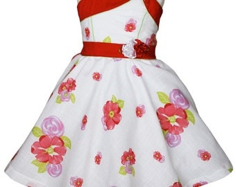 White girls dress with red roses.  Runs true to size.  All sizes available 3 Months to 9/10 years  17779