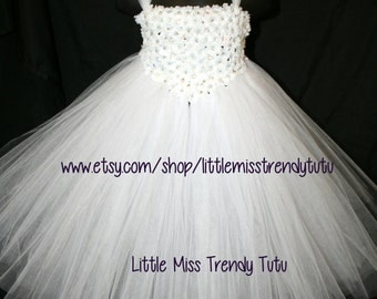 White Tutu Dress with Small White Flowers with Sparkling Crystals, White Flower Girl Dress, Flower Girl Tutu Dress, Couture Tutu Dress,