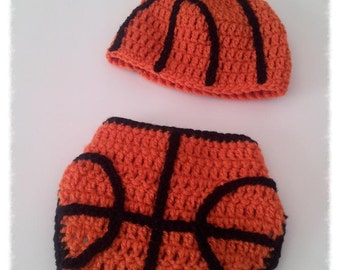 Basketball hat and diaper cover- Photography Prop - Newborn Prop-Handmade Baby Shower Gift
