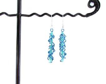 CLEARANCE Blue wire earrings, handmade in the UK