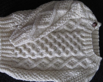 Irish Aran 100% Wool Baby or Toddler Sweater Design D