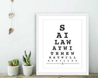 Sail Away With Me -  Eye Chart Art Print  - Nautical Love Poster  - Modern Wall Art - Black and White