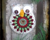 Crochet Owl, Primitive Christmas Ornament, Christmas Gift Tag, Party Favor, OFG FAAP