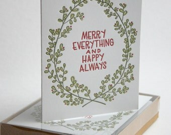 6-Pack Letterpress Holiday Card Merry Everything and Happy Always