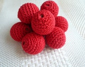 "Crochet beads 5 PCS 20 mm 3/4"" Red Necklaces Wooden crochet 100% cotton beads Crocheted bead Round beads"