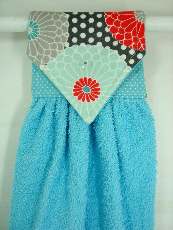 Zinnias Hanging Hand Towel  Teal Coral Hanging Towel  Aqua Kitchen Towel   Turquoise Hanging. Zinnias Hanging Hand Towel Teal Coral Hanging Towel Aqua