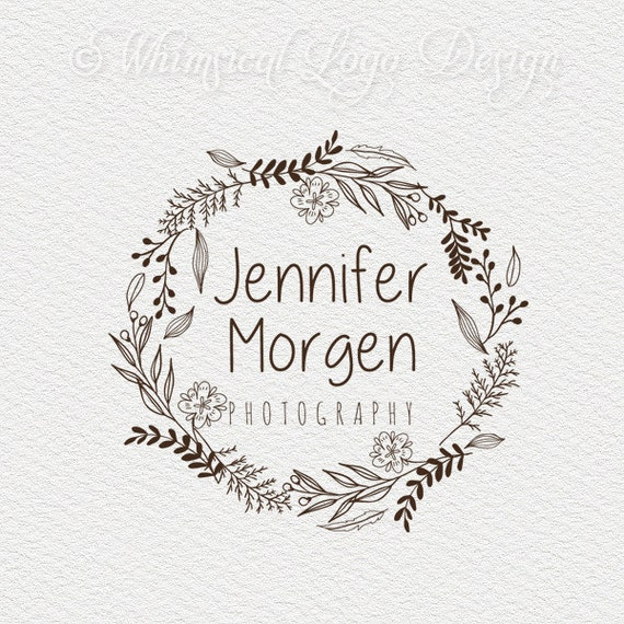 items similar to wreath logo design circle logo floral