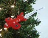 Baby's First Christmas Ornament Plane Christmas Ornament with Custom Banner Needle Felted Red Air Plane Christmas Gift