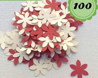 Cream and Red Cardinal Confettis - 100 Flowers - Scrapbooking - Party confetti