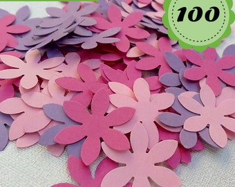 Purple, pink, fuchsia Confettis - 100 Flowers - Scrapbooking - Party confetti