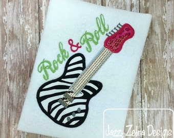 Electric Guitar Applique embroidery Design - guitar Applique Design - boy Applique Design - girl Applique Design