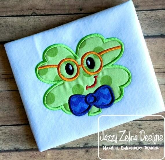 Boy clover face with eyeglasses appliqué embroidery design