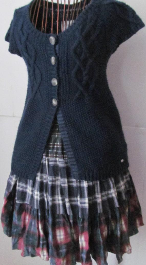 school plaid skirt navy blue maroon by revintageboutique