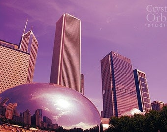 Chicago Print, Skyline, Cloud Gate, The Bean, Chicago Photos, Fine Art Photography, Lavender, Purple, Home Decor, Wall Art, Canvas Print