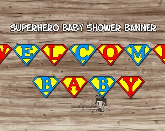 Superhero Baby Shower Party Pack, Super Baby Shower, Cupcake Wrappers, Water Bottle, Banner, Lollipops - Digital PDF File, INSTANT DOWNLOAD