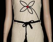 Unique Vintage 1930s Swimsuit ~ Cross Tie Open Back ~ Cream, Black & Red ~ Front Flower Motif ~ Deco 3-s Bathing Suit - Beach Wear XS/S