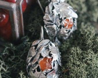 Foliage earrings, rough gemstone earrings, sterling silver earrings, leaf earrings, unique earrings, oxidized, orange gemstone, autumn