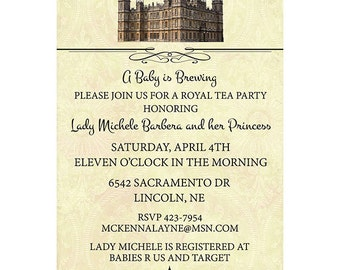 1920's England Style Baby Shower Tea Party Invitations Printed or Digital FREE SHIPPING