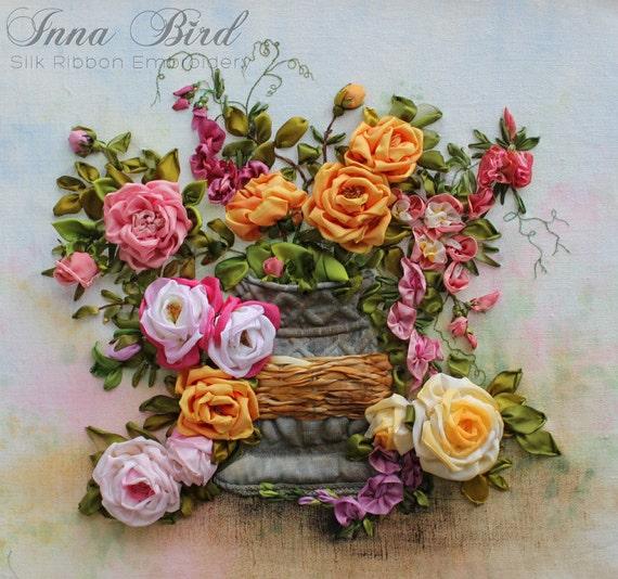 Sale off joie de vivre ribbon embroidery picture textile