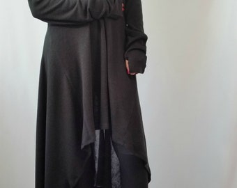 Black Asymmetrical Sweater Top / Oversize Sweater Dress / Long Women Knitted Sweater / EXPRESS SHIPPING / MD 10007
