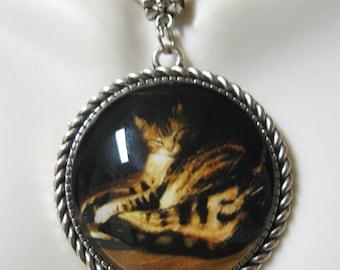 Steinlen cat pendant and chain - CAP25-006