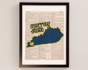 Murray State Racers Dictionary Art Print - Murray Kentucky Art - Print on Vintage Dictionary Paper - Murray State Graduation Gift