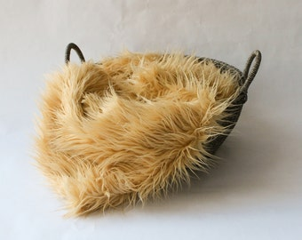 SALE....Mongolian Faux Fur ,Light  Camel / Tan Faux Fur, Newborn Photo Prop, Baby Photo Prop.