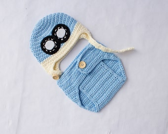 READY TO SHIP,  Blue Aviator Hat and Diaper Cover, Newborn and Baby Photo Prop, Pilot Outfit,  Newborn Photo Prop. Boy Photo Prop.