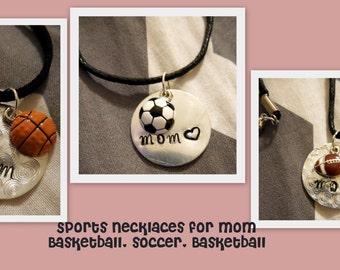 Hand Stamped Jewelry.Mom.Sports fan.