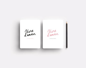 "French typography card ""Vivre d'amour"""