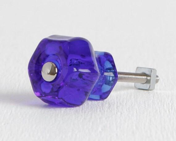 Cobalt blue glass knobs cabinet or drawer knobs dresser for Glass bureau knobs