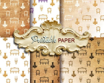 VINTAGE HOME - 6 SHEETs Printable wrapping paper for Scrapbooking, Creat - Download and Print