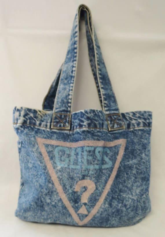 Acid Wash Denim GUESS Tote Bag / Vintage 80s