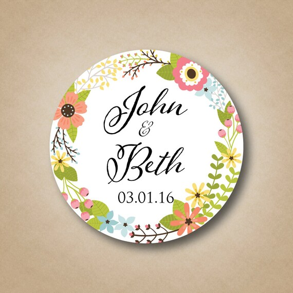 rustic wedding favor stickers personalized wedding favor labels floral