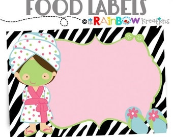 013 - Food Labels: Zebra Print Spa 2 Candy or Buffet Labels - Instant Downloadable File