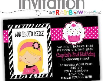 096: DIY - Zebra Print Cupcake Party Invitation Or Thank You Card