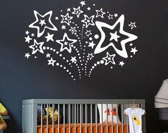 Wall Decals Firework Decal Vinyl Sticker Home Decor Firework with Stars Nursery Room Bedroom Dorm Window Decals Living Room Chu163