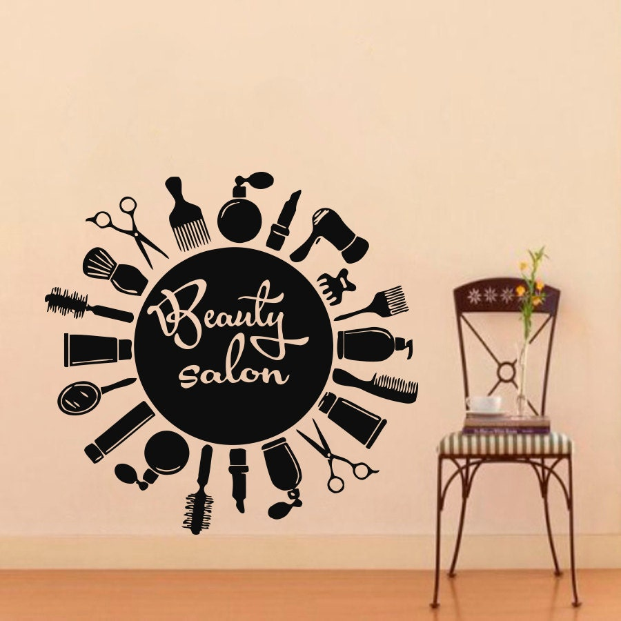 wall decals hairdressing combs beauty salon decal vinyl. Black Bedroom Furniture Sets. Home Design Ideas