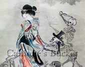 """The Hell Courtesan, Jigoku Dayu, watercolor on silk. (all artworks are sold without the """"Calliope's Bucket"""" stamp)"""