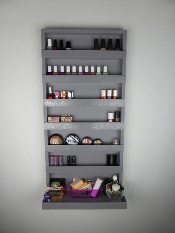 rack with silver glitter - Makeup organizer - bathroom storage - wall ...