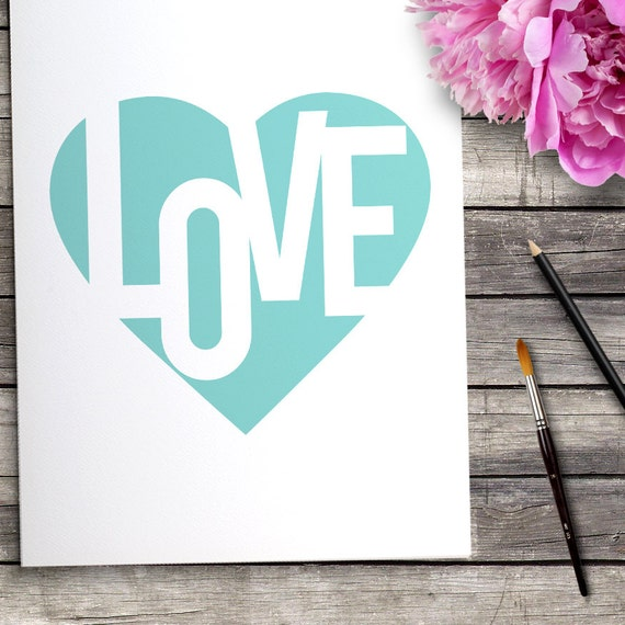 Sweetheart Typography Print, Aqua Blue Heart, Love Home Decor, Love Heart Poster