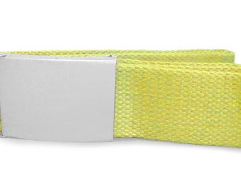 Custom engraved / personalised yellow canvas belt in velvet gift pouch - LR81yellow