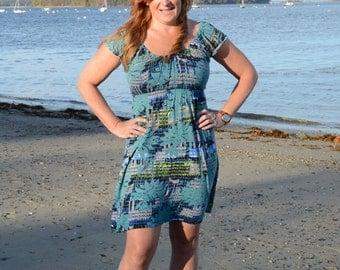 Knit Empire Waist Seaglass Dress