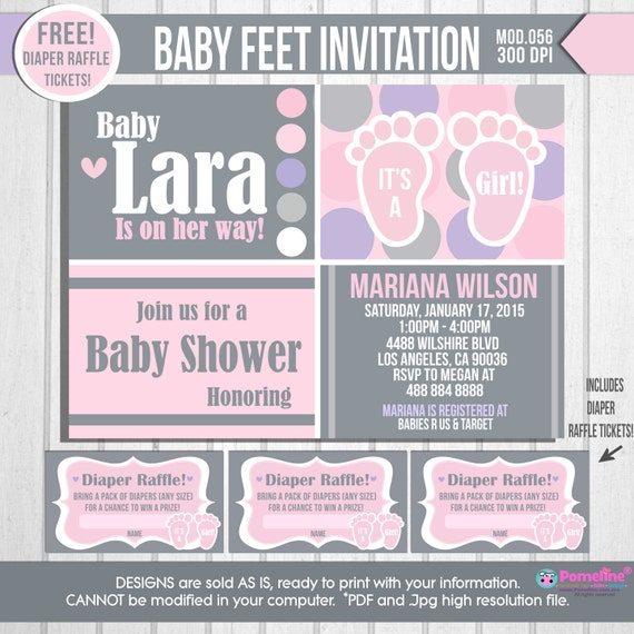 printable feet baby shower invitation. digital baby girl shower, Baby shower invitations