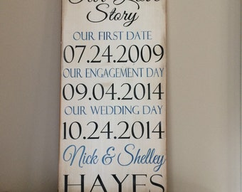 Important dates Our Love Story distressed wood sign *important date art *wedding * shower gift * anniversary gift * 12x24